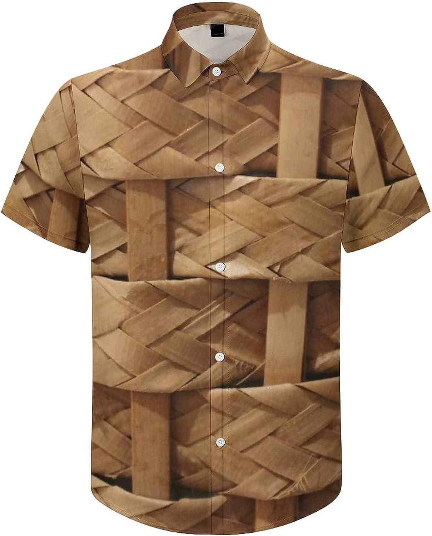 Hawaiian Shirts for Men Bamboo Wood Basket Printed Beach Shirt Hawaiian Shirts