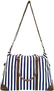 Women's Blue Striped Weekender Bag, Travel Tote, Duffle Bag, Overnight Bag