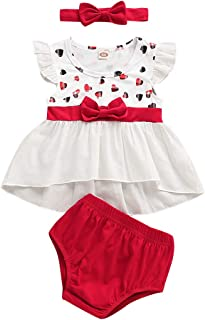 Rainbowbaby Baby Girl Clothes Short Sleeve Summer Dress Outfits Pants Shorts 3Pcs Set for Infant and Toddler Baby