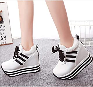 Production Spring and Autumn New Canvas Shoes Female Muffin with Increased Height Casual Shoes Wedge with High-Heeled Rocking Shoes Manufacturers Wholesale (Color : White, Size : 37)