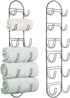 mDesign Juego de 2 toalleros de baño para montaje en pared – Estantes para toallas de metal – Elegante accesorio para el b...