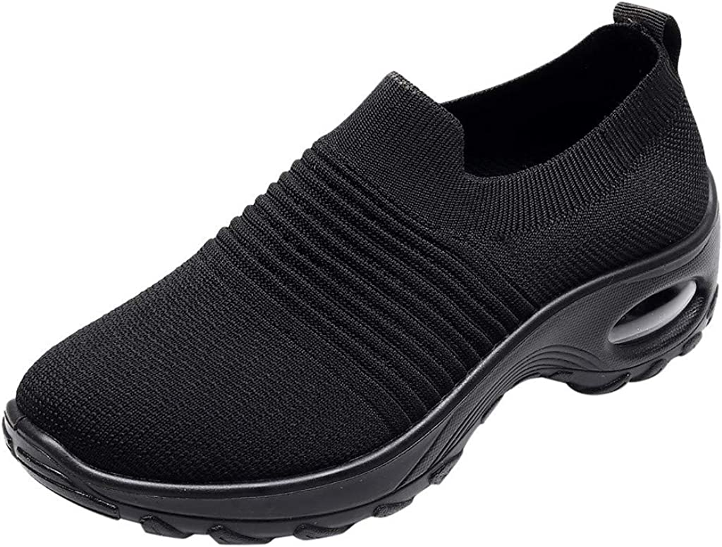 Women's Slip On Breathable Walking Shoes Comfort Fitness Wedge M