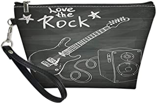 Women Toiletry Cosmetic Bag,Love The Rock Music Themed Sketch Art Sound Box and Text on Chalkboard for Travel Makeup Bag Zipper Pouch