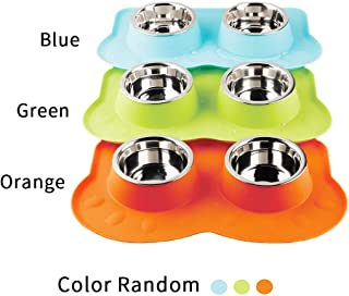 PAWISE Dog Bowl, Stainless Steel Dog Food Water Bowl with No Spill Silicone Mat Puppy Bowl for Feeding Dogs Cats Puppies (350ml x 2)
