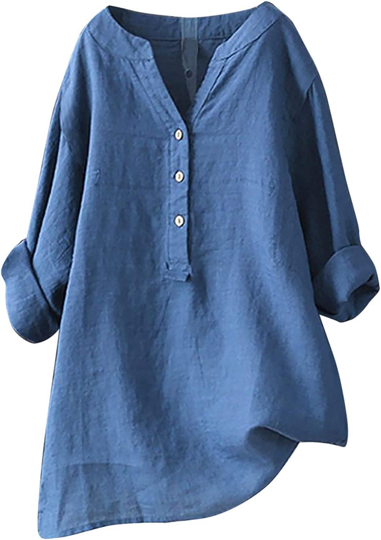 Womens Summer Tops Women's V-Neck 3/4 Roll Sleeve Loose Button Tunic Shirts Summer Shirts Blouse Womens Tops