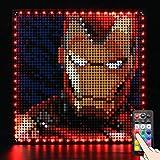 BRIKSMAX Kit de iluminación LED Lego Art Marvel Studios Iron Man - Compatible con Lego 31199 Building Blocks Model- No incluir el Conjunto de Lego