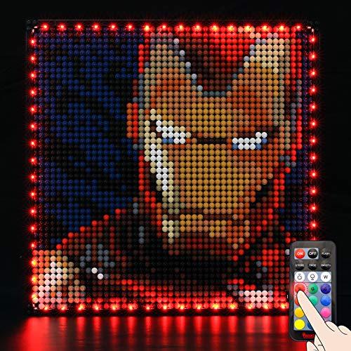 BRIKSMAX Led Beleuchtungsset für Lego Art Marvel Studios Iron Man - Compatible with Lego 31199 Bausteinen Modell - Ohne Lego Set(Fernbedienungsversion)