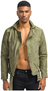 SPE969 PU Leather Casual Solid Jacket for Men,Turn-Down Collar Autumn Winter Coat