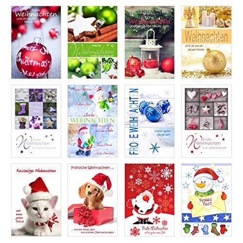 Edition Seidel Set 12 Weihnachtskarten mit Umschlag. Weihnachten Karte (Doppelkarten/Klappkarten mit Briefumschlag). Postkarte Weihnachtspostkarte