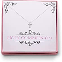 Ladorn First Communion Cross Necklace First Holy Communion Cross Necklace Gift for Girls Holy Communion Gifts Girls Cross Earrings Cubic Zirconia Silver CZ