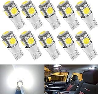 Kitchasy 194 168 Led Car Light Bulb, T10 Wedge Upgrade 5 SMD 5050 Chipset White Light 2825 W5W 175 158 LED Light for Car Interior Dome Map Courtesy License Plate Side Marker Light Bulbs 10pcs