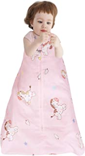 Designthology 100% Cotton Muslin Baby Sleeping Sack Bag with 2-Way Zipper, Adventurous Pink Pony - Breathable & Lightweight Wearable Blanket for Baby Boy & Baby Girl, Small (0-6 Months)