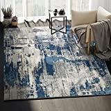 Abani Rugs Blue & Grey Abstract Motif Area Rug - Rustic Contemporary Modern Style, Vista Collection 4' x 6' Accent Rug