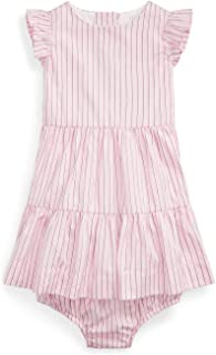 Polo Ralph Lauren Baby Girls Striped Cotton Dress and Bloomer 2 Piece Set
