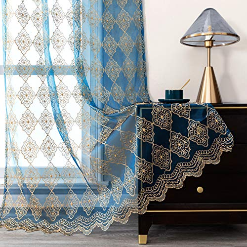Jiyoyo Embroidered Lace Sheer Curtains for Living Room Bedroom,Rod Pocket Flower Voile Drapes/Panels, (Teal Blue with Silver Threading Embroidery, 50 by 84 Inch,1 Panel)