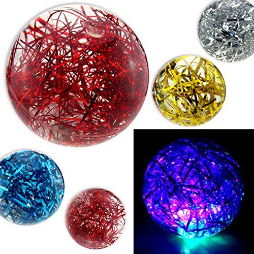 Cepewa 3X LED Flummi Groß Glitzer Glitter Licht Blinken Gummiball XL ca.60mm Springball Mitgebsel Kinder