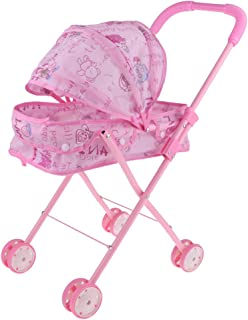 Mini Outdoor Baby Buggy Pram Infant Push Cart Pushchair Dolls Trolley Kids Pretend Play Toys Pink