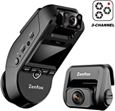 Zenfox T3 3CH Triple Channel Dash Cam 2K Front+1080P Interior+1080P Rear WiFi Dash Camera Infrared Night Vision, Built-in GPS, Parking Mode, Motion Detection, G-Sensor, Support 256GB Max