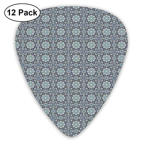 Guitar Picks Traditionelle persische Blumenmotive mit arabesken Einflüssen Altmodische Fliesen, für Bass Electric Acoustic Guitars-12 Pack