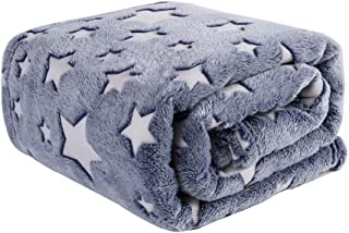 HYSEAS Luminous Velvet Plush Throw, Super Soft Star Pattern Throw Blanket, 50x60 Inches, Gray - Blue