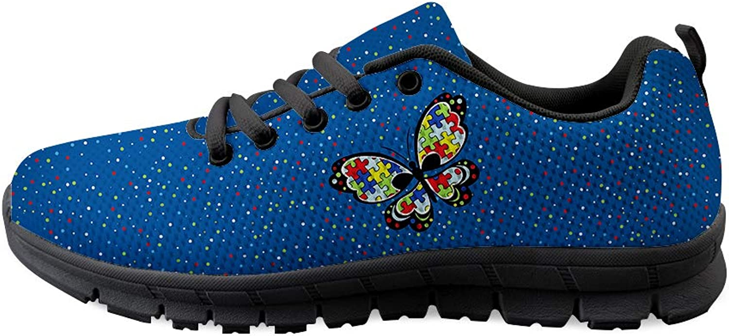 Lace-up Sneaker Training shoes Mens Womens Autism Awareness Puzzle Butterfly