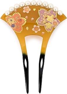 (ソウビエン) バチ型簪 かんざし 桜 手描き パール 結婚式 着物 和装