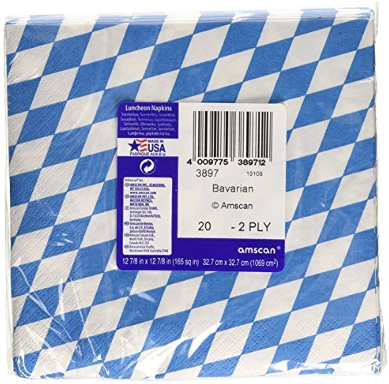 Amscan International 33 cm Bavarian Luncheon Napkins (bluee White) by Amscan International