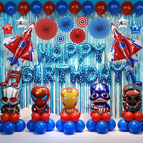 Set de 75 decoraciones de fiesta de cumpleaños de superhéroe, suministros para fiestas de niños Decoración de globos de superhéroe para niños Favor de fiesta temática