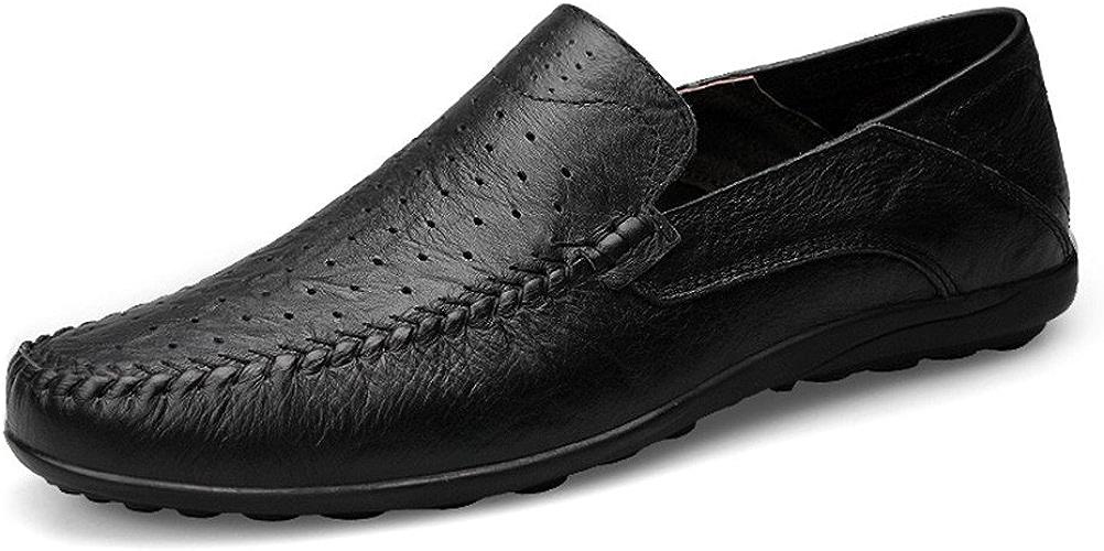 Shuo lan hu wai Les Mocassins Occasionnels Doux de Conception de Mode des Hommes Glissent sur la Conduite Mocassin de Mocassin,Chaussures de Cricket (Couleur   noir Hollow Vamp, Taille   45 EU)