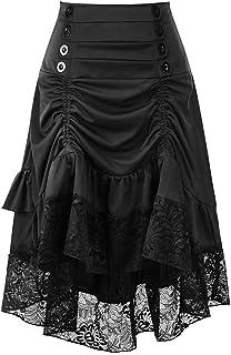 Modaworld carnevale Renaissance Vestiti da Donna Autunno e Inverno retrò Cucitura Borsa Pizzo Gonna Hip
