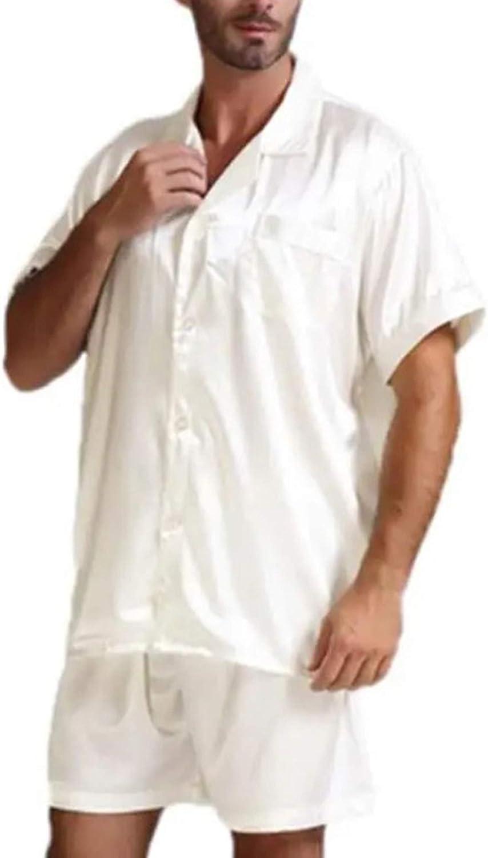 Men2Pcs Pajamas Suits Sets Satin Silk Short Sleeve Sleepwear Nightwear Homewear Tops+Pants