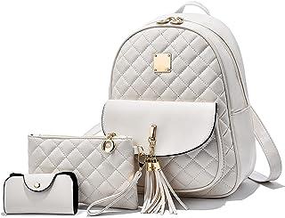EVEOUT Damen Rucksack PU Leder Lässiger Tagesrucksack zum Reisen Schule Arbeit Schultertasche Rucksack Set Weiß