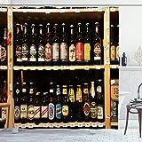 Alvaradod Cortina de la Ducha,Productos alcohólicos en el Stand de Cerveza en el supermercado,con 12 Ganchos de plástico Cortinas de baño Decorativas 72x84 Pulgadas