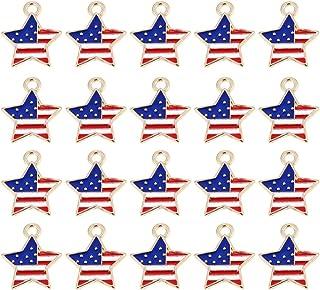 PRETYZOOM 20ピーススターアメリカ国旗チャームペンダント愛国エナメルチャーム用diyプロジェクト、ネックレス作り、ブレスレット作り、クラフト独立記念日の装飾