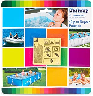 Bestway Parches de reparación adhesivos subacuáticos Flowclear de 6,35 x 6,35 cm (10 parches)