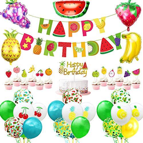 AYUQI Cumpleaños Globos de Frutas, cumpleaños decoracion para Fiesta Infantil, Happy Birthday Banner Gran Globo de papel de aluminio para Fiesta de Cumpleaños, Tema de Fruta juguete niños