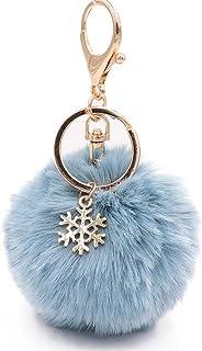 Pom Poms Keychains Fluffy Pompoms Keychain Artificial Fur Keyring for Women Girls