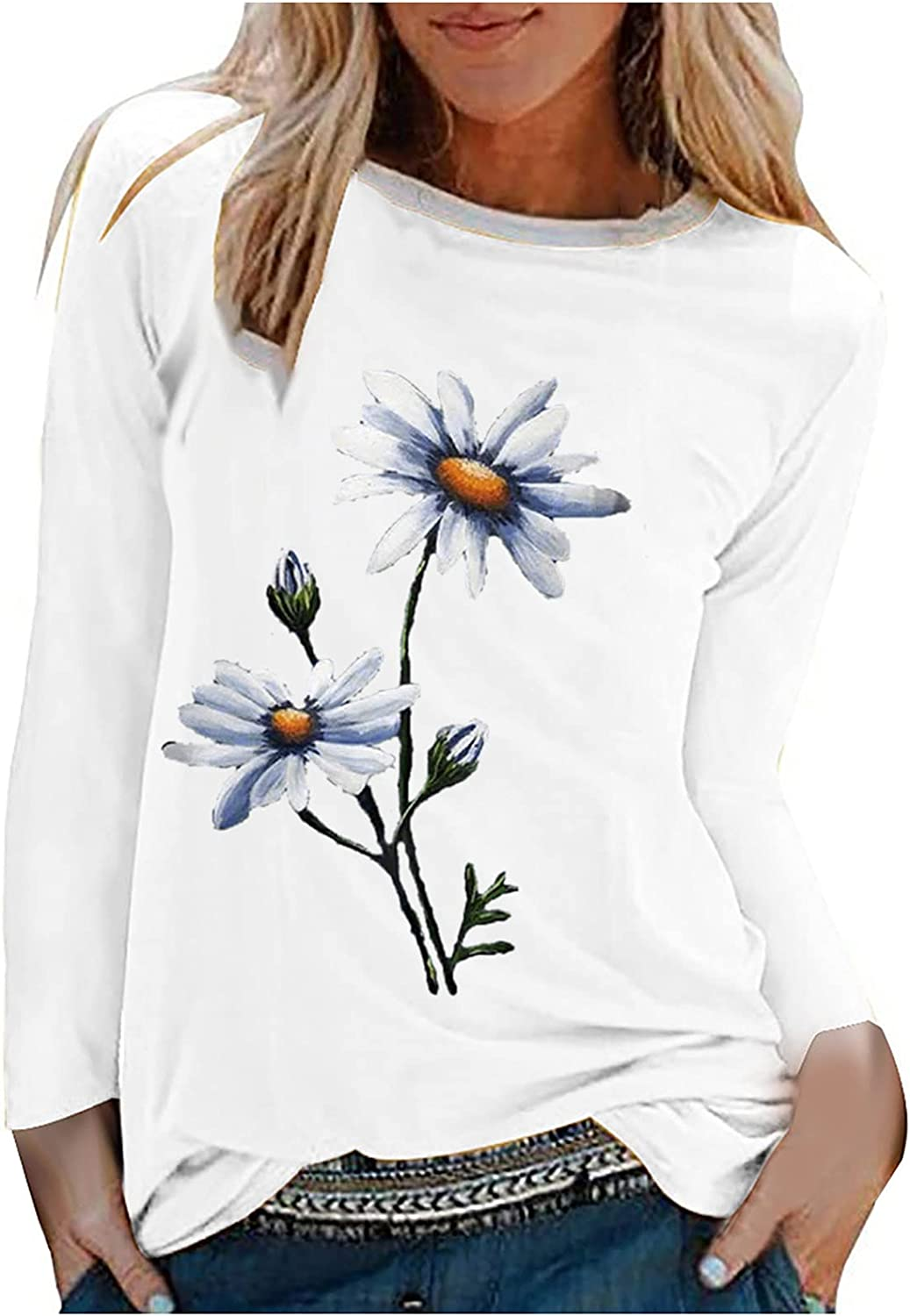 Women's Summer Casual Long Sleeve Blouse Floral Printing O-Neck Shirts Tops Loose Comfortable Tunic Tee