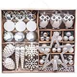 Victor's workshop 90pcs bolas de navidad set, adornos de navidad para arbol, decoración de bolas navideños inastillable plástico de plata y blanco, regalos de colgantes de navidad (invierno congelada)