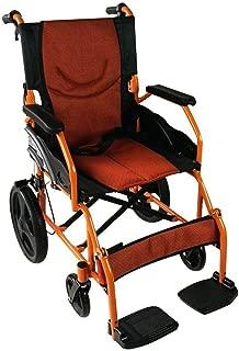Mobiclinic, Silla de ruedas ligera, reposapiés, respaldo y reposabrazos acolchados, Aluminio, Naranja, Asiento 46 centímetros, Pirámide