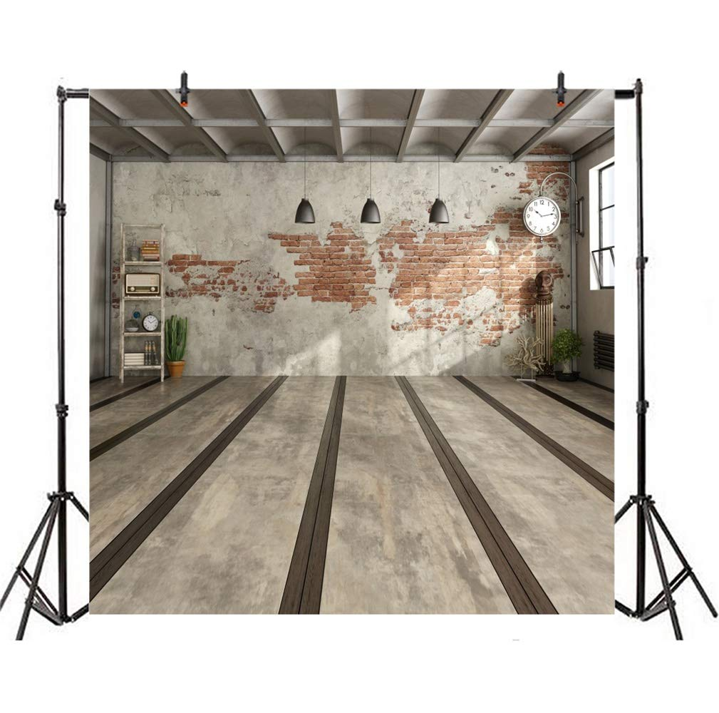 Polyester 7x7ft Retro Old House Interior Photography Background Grunge Peeling Limed Brick Wall Droplights Clock Plants Storage Rack Marble Floor Nostalgia Backdrops Artistic Photo Props