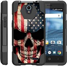 TurtleArmor   Compatible with ZTE Avid Plus Case   ZTE Avid Trio   ZTE ZFive 2 [Dynamic Shell] Hybrid Dual Layer Hard Shell Kickstand Silicone Case - US Flag Skull