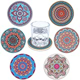Bohemian Coasters for Drinks Absorbent Ceramic Stone with Cork Backing Mandala Style Great Unique Housewarming Gift Tabletop Protection for Cup Mug Beer Glass 4 inch Set of 6