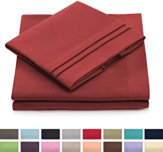 King Size Bed Sheets - Burgundy Luxury Sheet Set - Deep Pocket - Super Soft Hotel Bedding - Cool & Wrinkle Free - 1 Fitted, 1 Flat, 2 Pillow Cases - Dark Red King Sheets - 4 Piece