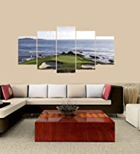 OnlineShoppingExpress [Large] Premium Quality Canvas Printed Wall Art Poster 5 Pieces / 5 Pannel Wall Decor Pebble Beach Golf Course Painting, Home Decor Pictures - Wooden Framed