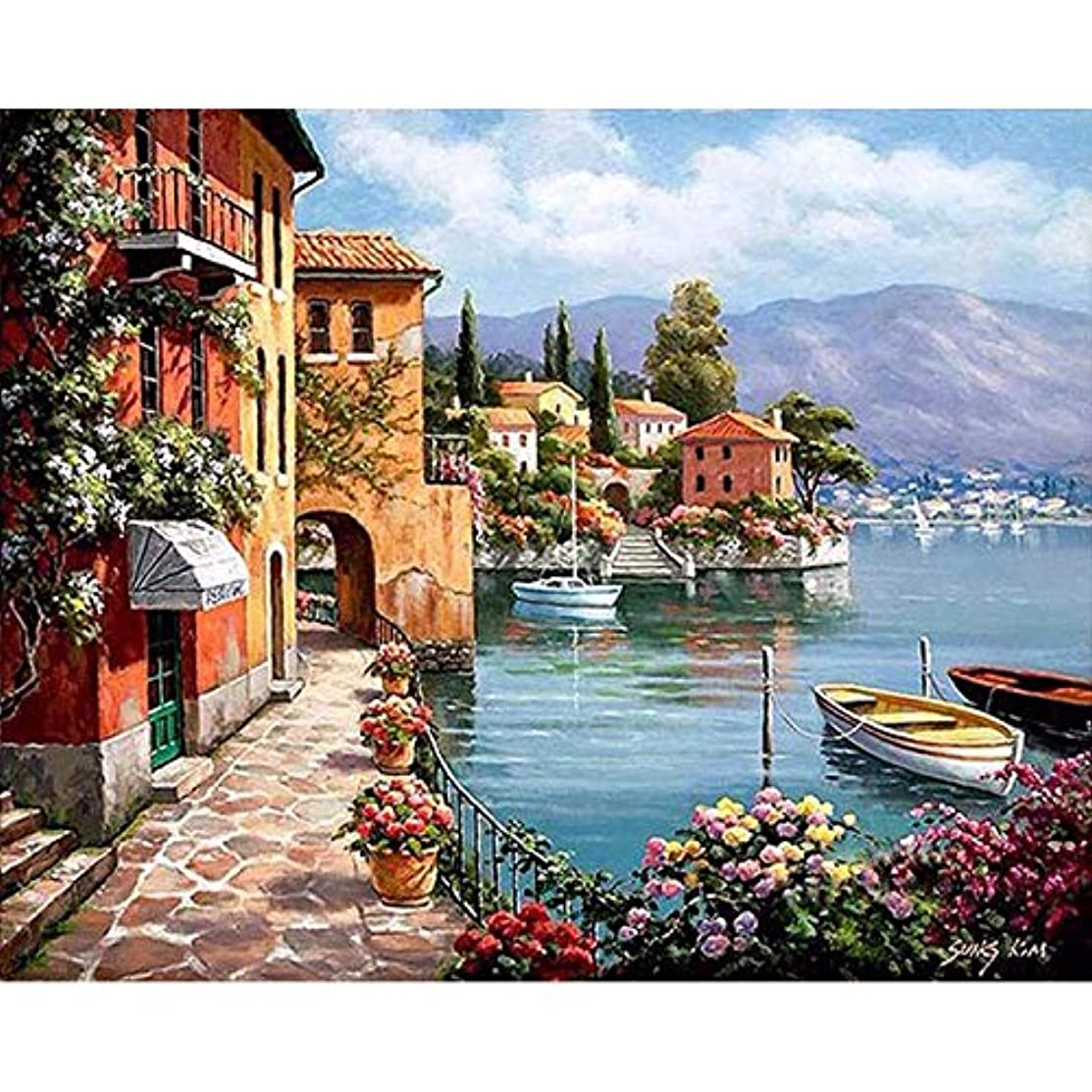 Faraway DIY Oil Painting Paint by Numbers Seaside Landscape Drawing with Brushes Paint for Adults Kids Beginner 40x50cm
