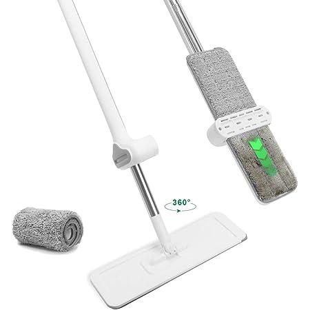 POKARI™Flat Mop and Bucket Set for Floor Cleaning, Hands Free Squeeze Mop for Hardwood,Laminate Floor. Stainless-Steel Handle, 2 Washable & Reusable Microfiber Mop Heads