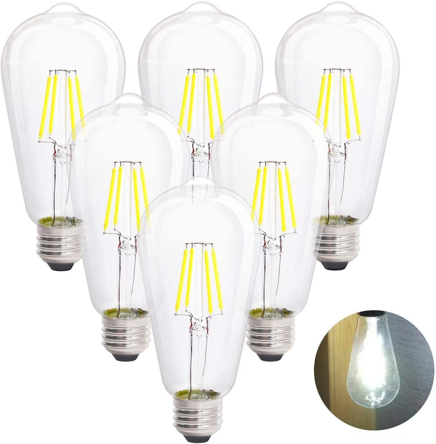 service LED Edison Vintage Light Bulbs Dimmabl 4W 4000K Reservation White Daylight