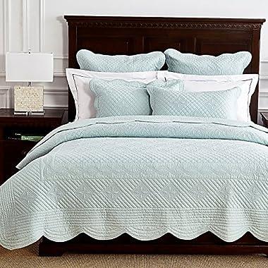 Calla Angel O4-BANU-XVKH Sage Garden Luxury Pure Cotton Quilt,Light Aqua,King