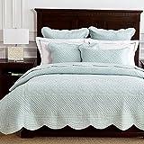Calla Angel Sage Garden Luxury Pure Cotton Quilt, Queen, Light Aqua